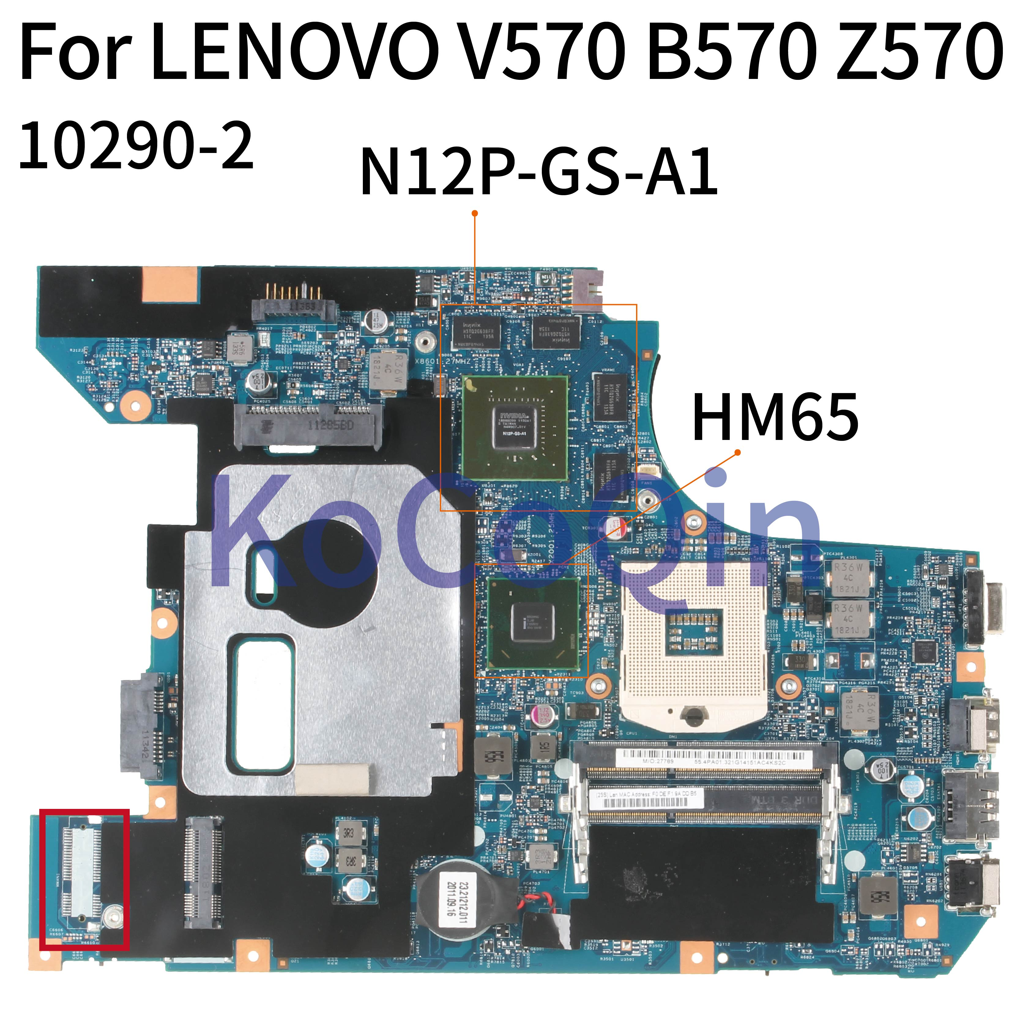 KoCoQin Laptop <font><b>motherboard</b></font> For <font><b>LENOVO</b></font> <font><b>V570</b></font> B570 Z570 HM65 N12P-GS-A1 Mainboard 10290-4 image