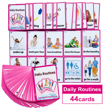 45Pcs/Set Daily Routines English Pocket Card Kids Montessori Learning Flash Early Educational Toys Games Children - discount item  10% OFF Learning & Education