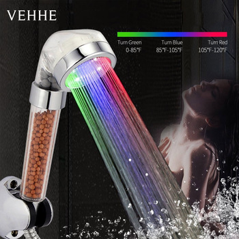 VEHHE LED Water Temperature Control Shower Head RGB Light High Pressure SPA Bathroom Anion Filter Ball Saving