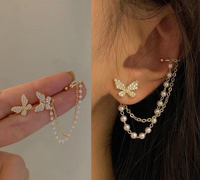 Korean Elegant Cute Rhinestone Butterfly Stud Earrings For Women Girls Fashion Metal Chain Boucle D'oreille Jewelry Gifts 1