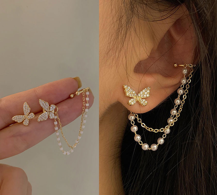 Korean Elegant Cute Rhinestone Butterfly Stud Earrings For Women Girls Fashion Metal Chain Boucle D'oreille Jewelry Gifts