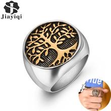 Jiayiqi Stylish Ring for Men Stainless Steel Tree of Life Rings Women Silver Gold Wedding Ring New Punk Rock Hiphop Jewelry Gift dmlsky king of rock rings jewelry black silver punk ring for women and mens stainless steel ring couple rings m2816