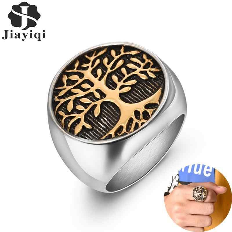 Jiayiqi elegante anel para homens de aço inoxidável árvore da vida anéis de prata anel de casamento de ouro novo punk rock hiphop jóias presente