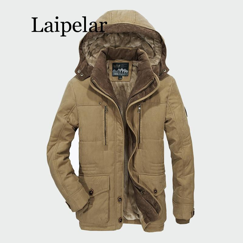 Laipelar Men Winter Coats Fleece Warm Thick Jackets Men Outerwear Windproof Casual Coat With Hooded Mens   Parkas   Plus size 5XL 6X
