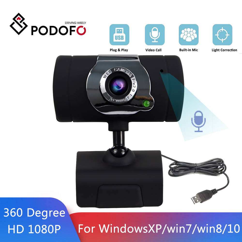 Podofo HD 1080P Cámara 360 grados USB Webcam con micrófono incorporado Driverless USB Webcam para WinXP/Win7/Win8/Win10|Cámaras web|   - AliExpress