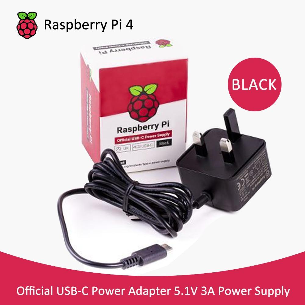 Adaptador de USB-C de fuente de alimentación raspberry pi 4, adaptador de 5,1 V 3A UK recomendado USB-C fuente de alimentación para Raspberry pi 4b