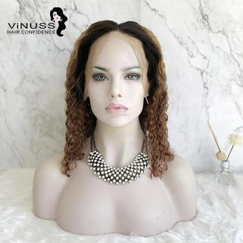 Vinuss Ombre 1B/30# Short Curly Bob Wig Lace Front Human Hair Pre Plucked Wig With Baby Hair  For Black Women Peruvian Remy Hair