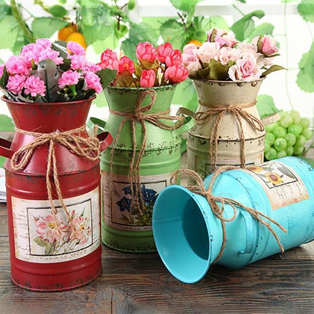 Garden Plants Flower Vase Iron Bucket Home Decoration Pots Arrangement Craft Rural Style Shabby Gift Wedding Vintage Table 1