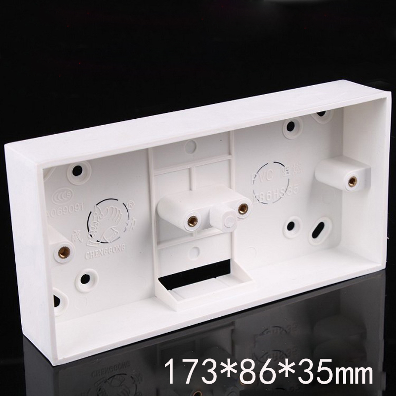 Two 86 Double Junction Box White PVC Surface Mount Wiring Box For Wall Electrical Socket Switch Installation