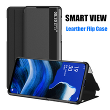 Case For OPPO Reno 2Z 2F Realme X2 Pro A9 A5 2020 A7 A5S Smart View Window Leather Flip Case Cover Shockproof smart mirror flip case for oppo realme 5 pro luxury clear view pu leather cover realme5 smart view case for oppo realme 5 pro