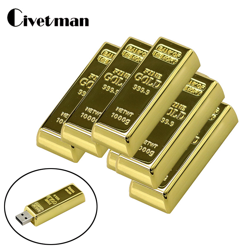 USB Flash Drive 128GB Latest Desgin Metal Bullion Gold Bar USB 2.0 Flash Drive 64GB Cle USB Memory Stick 8GB 16GB 32GB Pendrive