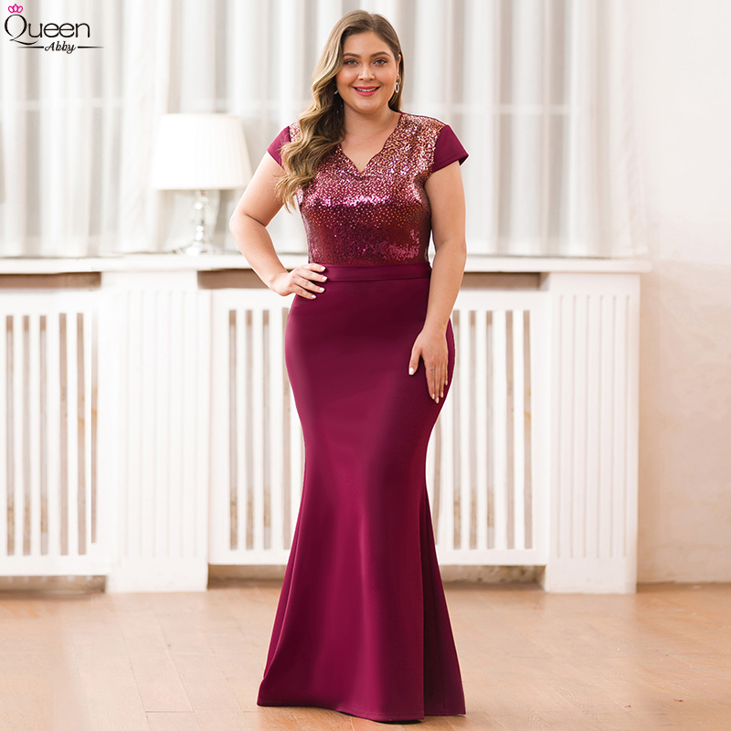 Elegant Evening Dresses Long Queen Abby Mermaid V-Neck Cap Short Sleeves Sequined Formal Party Gowns Plus Size