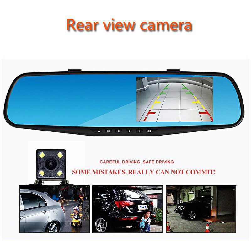 Видеорегистратор с двумя объективами, автомобильная камера, Full HD 1080 P, видео рекордер, зеркало заднего вида с видеорегистратором заднего вид...