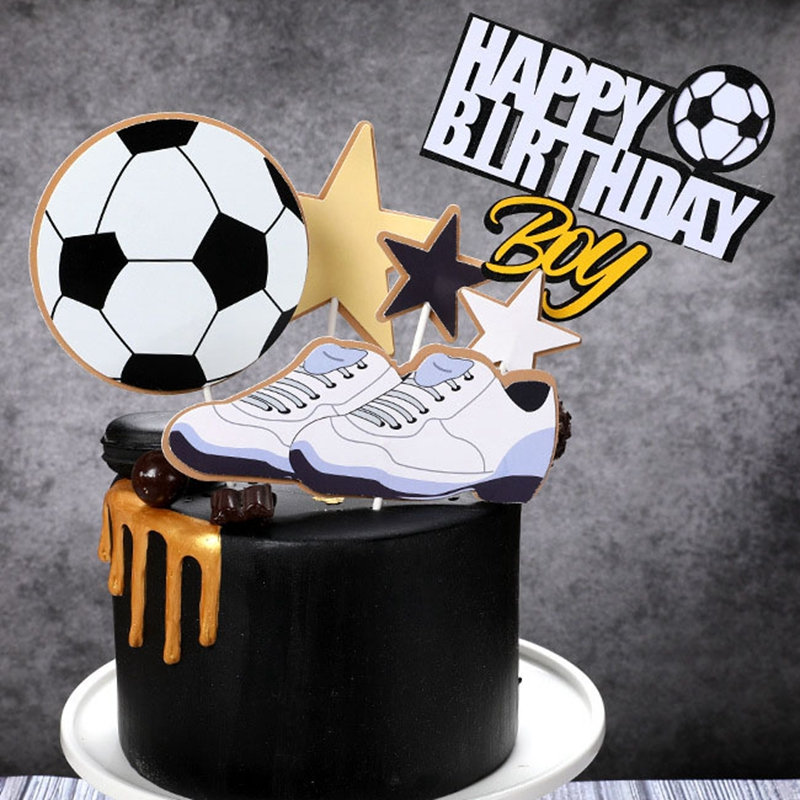 Creative Football Basketball Cake Topper Sport Theme Birthday Cake Topper For Kids Boys Happy Birthday Cake Decoration Flages