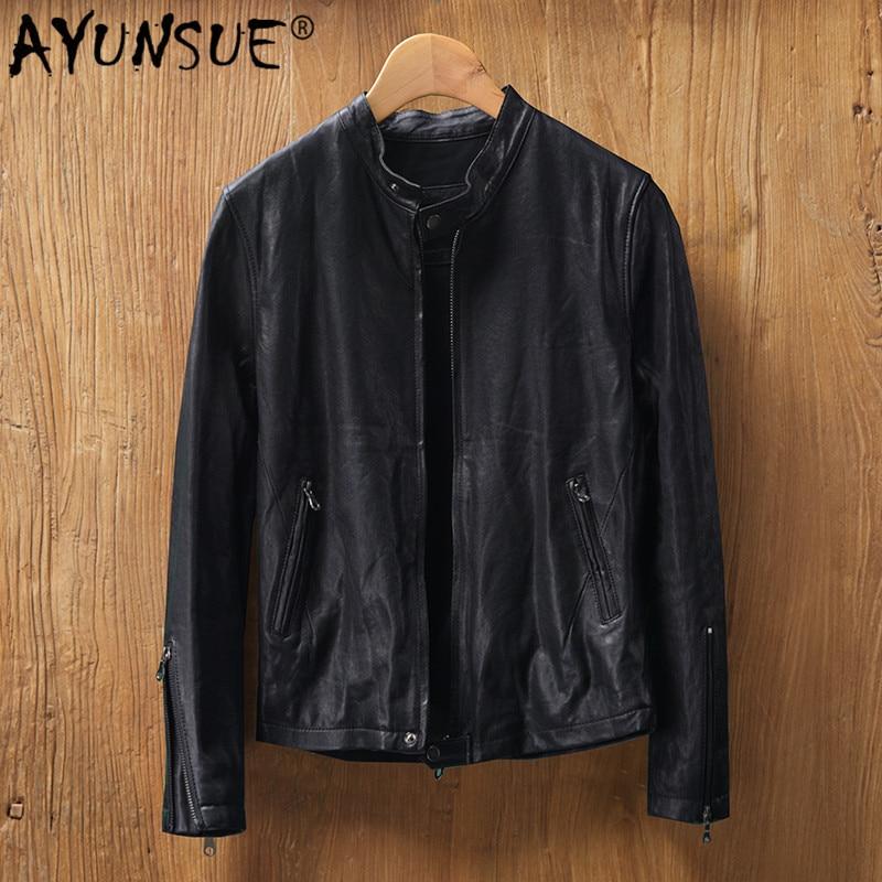 AYUNSUE 2020 Genuine Leather Jacket Men Real Sheepskin Coat Motorcycle Biker Bomber Jacket Veste Cuir Homme MG8-K8893 KJ4424