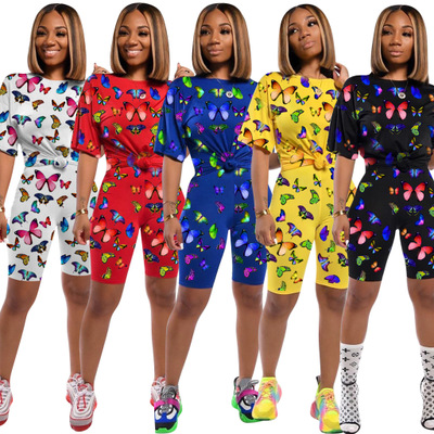 2020 Summer Latest Butterfly Printed 2 Piece Shorts Sets Casual Outfits T-Shirt + Biker Pants Active Two Pieces Sets Tracksuits