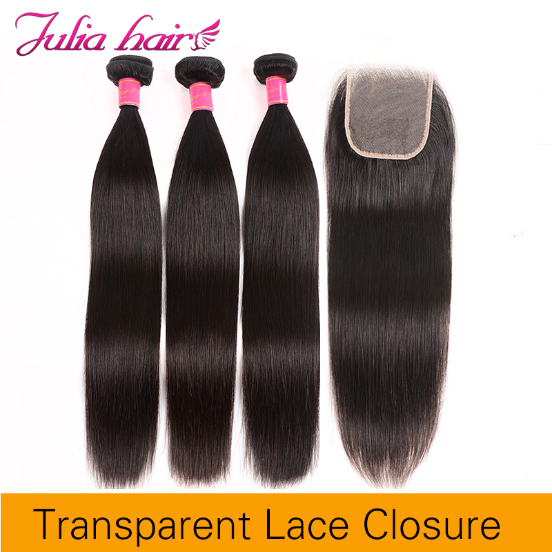 Ali Julia Hair 4*4 Transparent Lace Closure With Bundles Brazilian Remy Straight Human Hair Bundles With Closure