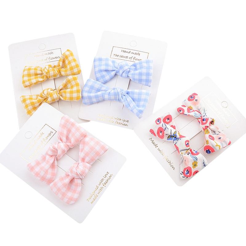 Girl Duckbill Clip Korean Version Of The Retro Floral Bow Hairpin Children's Fabric Print On The Clip Headdress