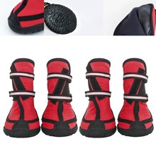 4Pcs/ Lot Dog Shoes Outdoor For Sports Mountain Wearable Pets shoes Anti-slip Waterproof Reflective