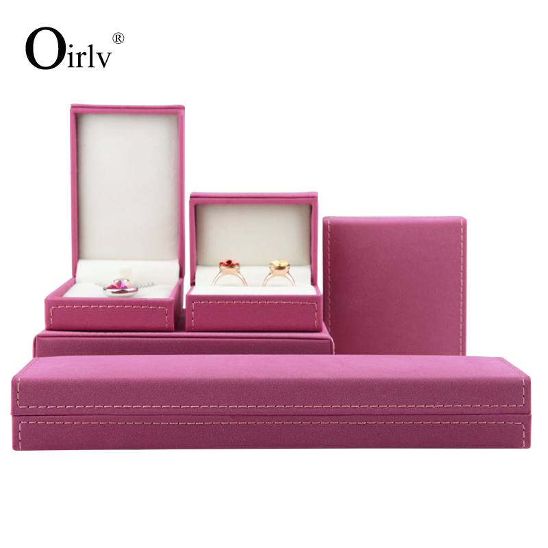 Oirlv Rose Red  Color Jewelry Box Display Gift Box Wrapped With Long Plush For Engagement Party Wedding Ring Bracelet Organizer