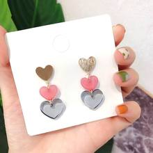 Multi Layers Heart Long Drop Earrings For Women 2019 Fashion Acrylic Korean Trendy Jewelry