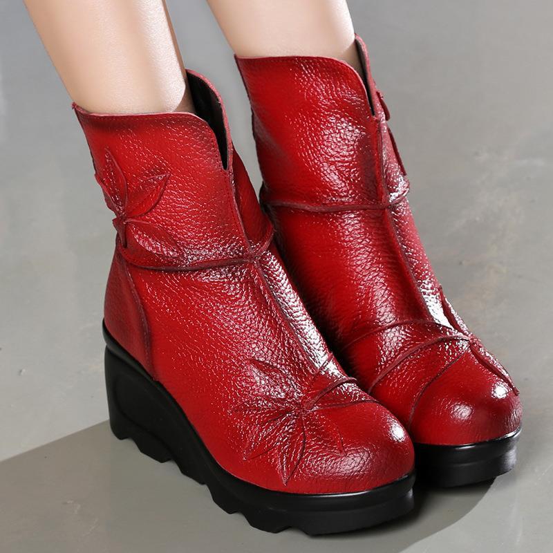 GKTINOO nowych moda prawdziwej skóry kobiet buty zimowe buty na co dzień kobiety kliny buty Handmade kobieta botki buty w Buty do kostki od Buty na  Grupa 1