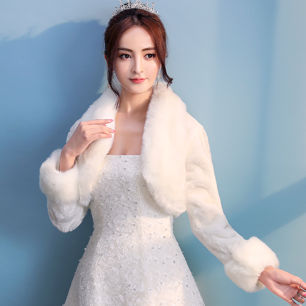 Women Ivory Winter Warm Faux Fur Wedding Bridal Shrug Elegant Dress Long Sleeve Accessory Cape Lapel Collar Shawl Bolero Coat