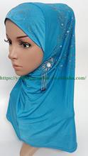 Розничная продажа, мусульманский головной платок с бисером, исламский арабский цельный кристаллический хиджаб с бусинами