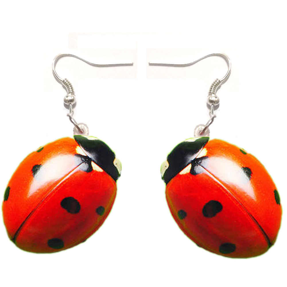 1 Pair Resin Ladybug Acrylic Dangle Drop Ladybird Earrings Big Long Punk Jewelry for Girls Women Stainless Steel  Women Earrings