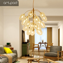 New Post-modern Glass Grape Chandelier Light with G4 led Bulb, Plating Chrome Golden Dining room Bedside  Ceiling Hanging Lamp