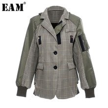 [Eam] Losse Fit Army Green Plaid Stitch Big Size Jacket Nieuwe Revers Lange Mouwen Vrouwen Jas Mode Tij lente Herfst 2020 1D636(China)