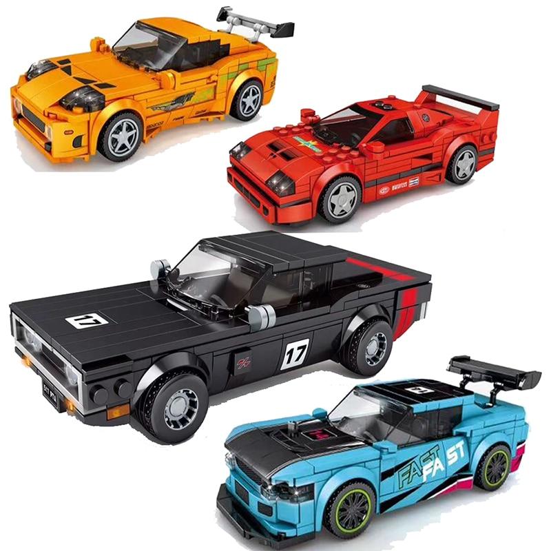 Yarış arabası şehir hız şampiyonları spor modeli yapı taşları DIY tuğla çocuk oyuncak klasik ralli teknik süper Racers araçlar f1
