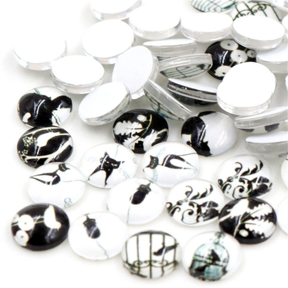 Hot Sale 50pcs 8mm And 10mm Cool Cat  Birdcage Mixed Handmade Glass Cabochons Pattern Domed Jewelry Accessories Supplies