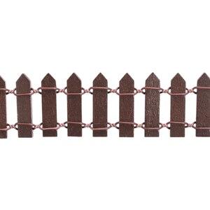 Image 2 - מיניאטורי עץ גידור Decors DIY פיות גן מיקרו בית בובות שערי התפאורה קישוט לבן/קפה צבעים 100*5cm/100*3cm