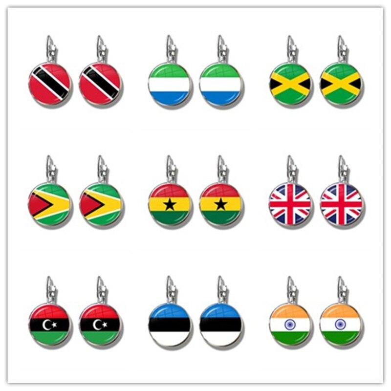 National Flag French Hook Earrings Trinidad,Sierra Leone,Jamaica,Guyana,Ghana,UK,Libya,Estonia,India Glass Jewelry For Women