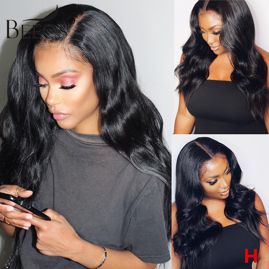 Beeos 180% 13x6 HD Transparent Lace Front Human Hair Wigs  Pre Plucked Body Wave Brazilian Hair With Baby Hair Bleached Knots