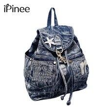 IPinee горячая Распродажа mochila feminina женский рюкзак Джинсовый Рюкзак для девочек подростков винтажная дорожная сумка сумки через плечо mochila feminina