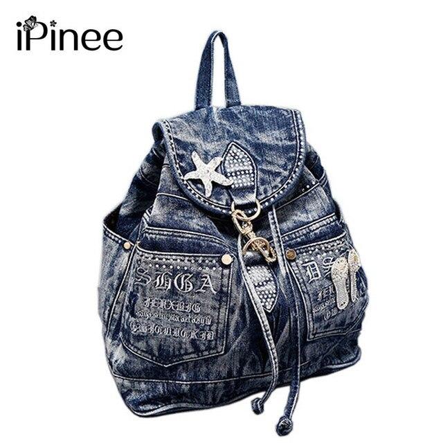 iPinee Hot Sale mochila feminina Womens Backpack denim backpack teenage Girls vintage Travel bag shoulder bags mochila feminina