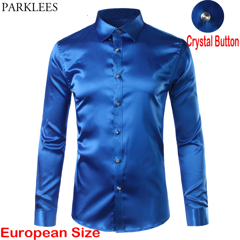 Luxury Royal Blue Satin Shirt Men 2020 Brand Crystal Button Dress Shirts Mens Long Sleeve Wedding Prom Tuxedo Shirts Chemise 3XL