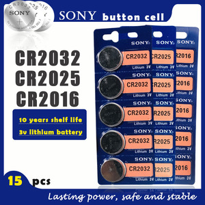 15PCS/lot SONY Original CR2032 CR2025 CR2016 Button Cell Battery 3V Lithium Batteries for Watch Toy Computer Calculator Control