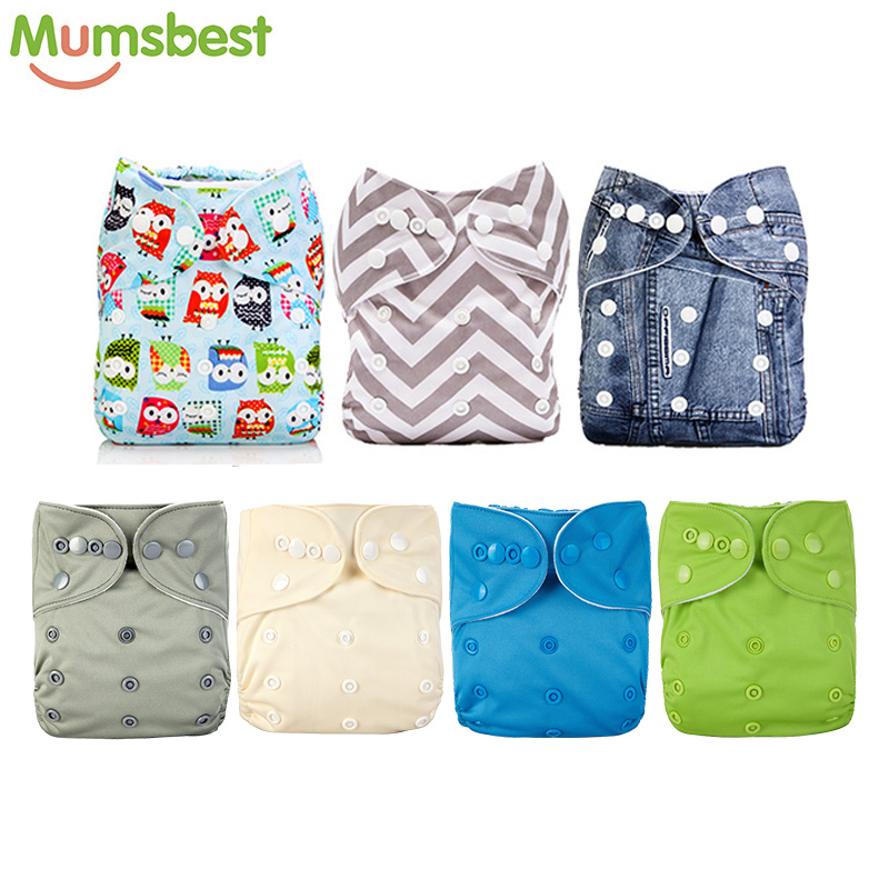 [Mumsbest] Baby Boy Diaper Cloth Diapers Lovely Print Pocket Diapers Baby Nappies Unisex Washable Nappy Changing Size Adjusted
