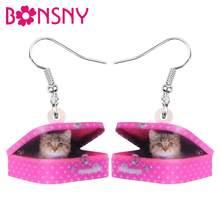 Bonsny-boîte à chaton en acrylique, boucles d'oreilles en forme de chat doux, bijoux en forme de goutte, pour femmes, filles, amoureux d'amour, accessoire cadeau