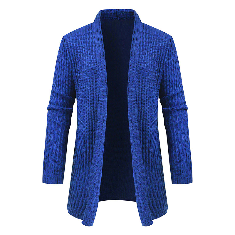 Mens Turn-down Collar Cotton Cardigan Solid Autumn Winter Warm Perfect Quality Comfortable Long Coat Knitted Casual Male Sweater