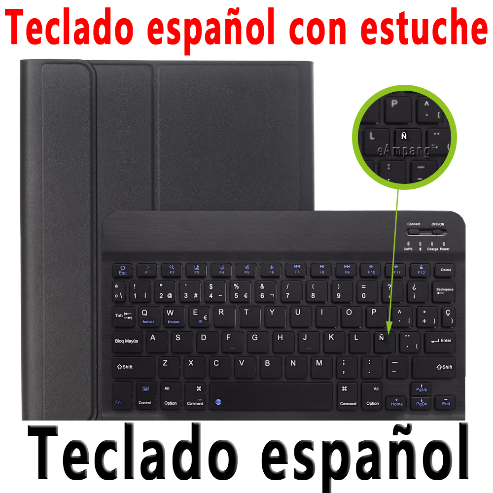 Spanish Keyboard Silver For iPad 10 2 2019 2020 Keyboard Case with Pencil Holder for Apple iPad 7th 8th