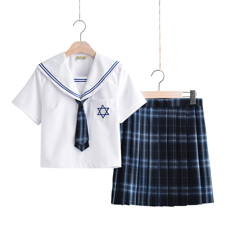 Women Japanese School Dresses Blue Plaid Pleated Skirt For Girls Sailor Suit With Tie Cosplay Anime Students Jk Uniforms Costume