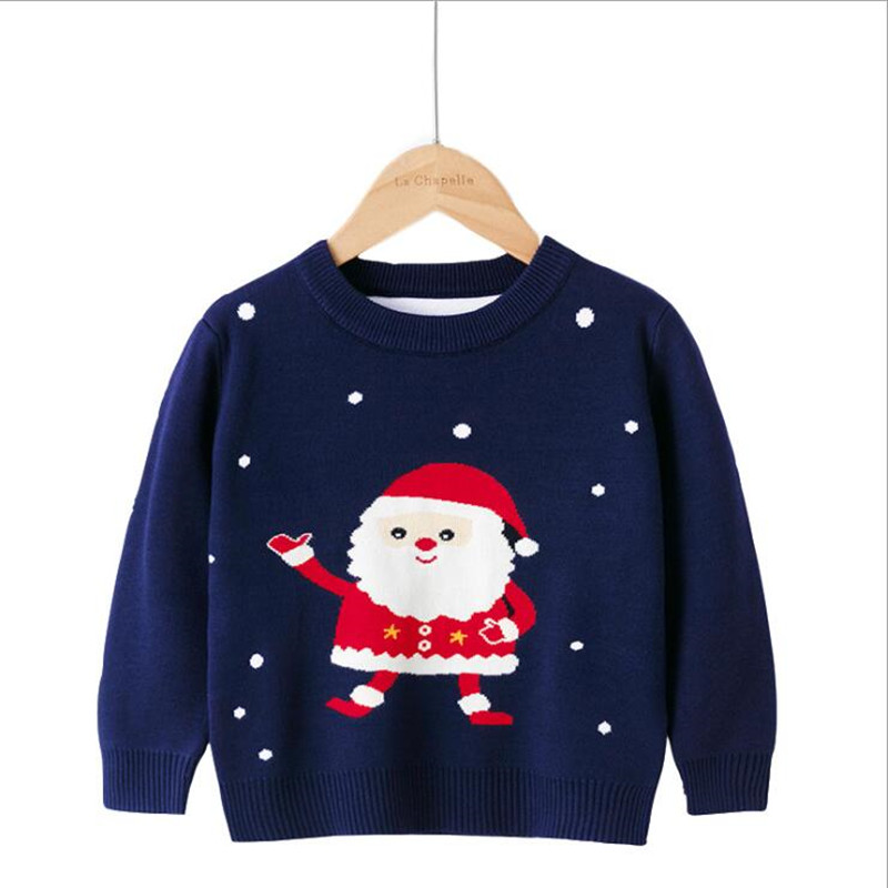 Children Sweater 2021 Autumn Cartoon Christmas Pullover Knit Warm Sweaters Birthday Costume Girls Boys Printing Sweaters Clothes 2