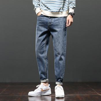 2021 jeans moda męska marka duży rozmiar luźne Harlan proste spodnie moda męska moda męska casual spodnie tanie i dobre opinie CN (pochodzenie) na zamek błyskawiczny Na wiosnę i lato Daily Na co dzień TENCEL Spodnie typu Harem