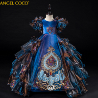 New Arrival Luxury Embroidery Ball Gowns Lace Appliques Floor Length Flower Girls Princess Elegant Wedding Pageant Dresses 2020