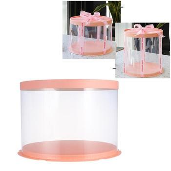 Caja redonda transparente para Tartas, Cajas De embalaje para postres, caja organizadora De almacenamiento a prueba De polvo, Cajas De Regalo para fiestas De cumpleaños o bodas