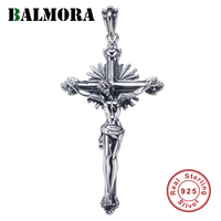BALMORA 925 Sterling Silver Jesus Cross Pendants for Women Men Religious Christian Jewelry Without a Chain Accessories
